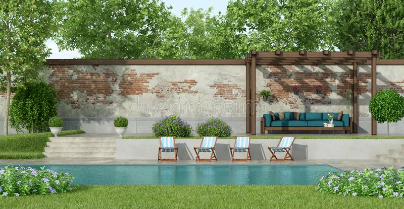 Garden with large pool royalty free illustration