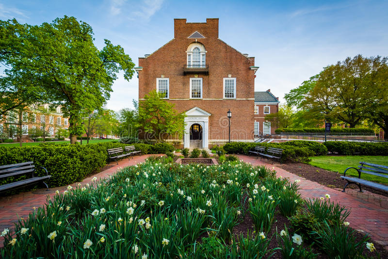 Garden and Latrobe Hall, at Johns Hopkins University, Baltimore, Maryland. royalty free stock photos