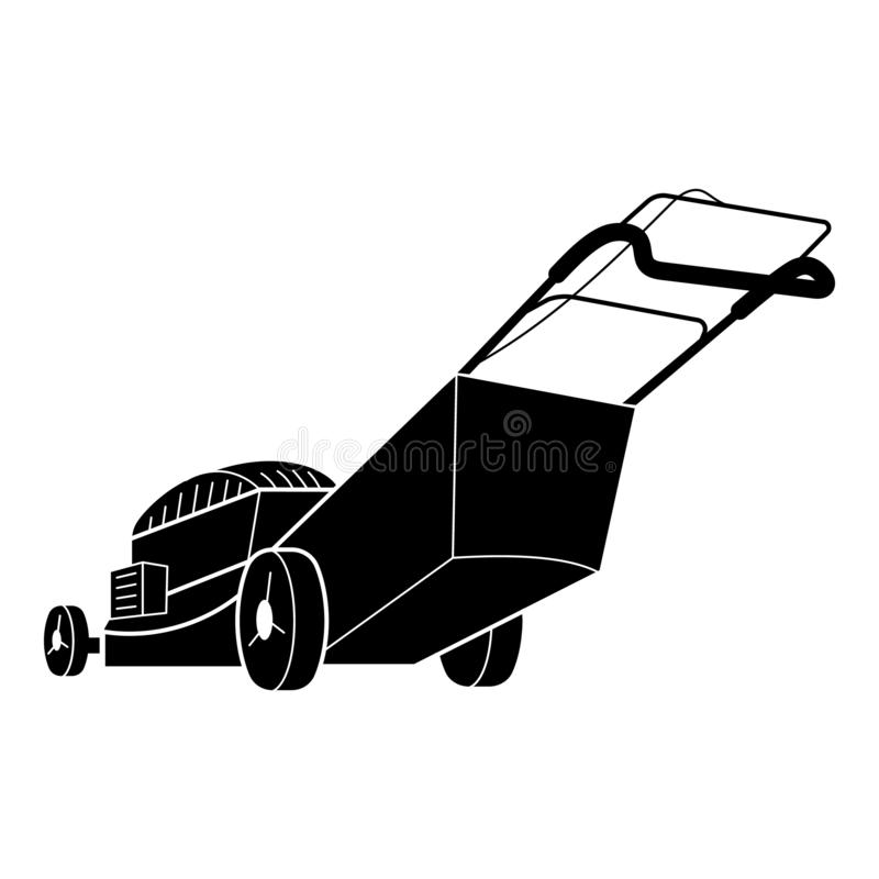 Garden lawn mower icon, simple style. Garden lawn mower icon. Simple illustration of garden lawn mower vector icon for web design isolated on white background royalty free illustration