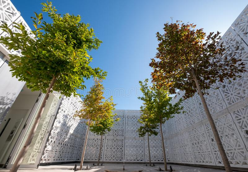 Garden of Light, Islamic roof garden at the Aga Khan Centre, King`s Cross, London. Photographed from ground level. royalty free stock photography