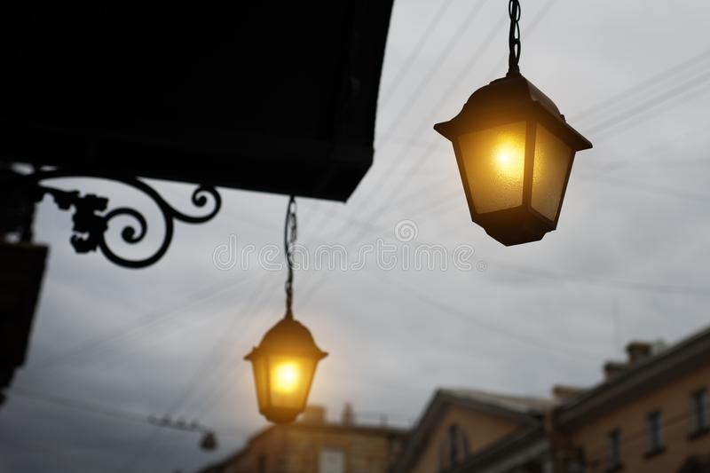 Download Garden Lights With Solar Battery Stock Photo   Image Of Antique,  Design: 104686220