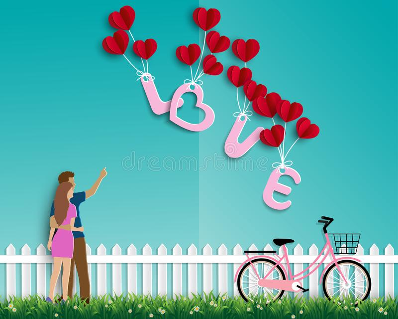 Garden of love with couple on green background,paper art design for happy Valentine`s day,greeting card or poster. Vector illustration vector illustration