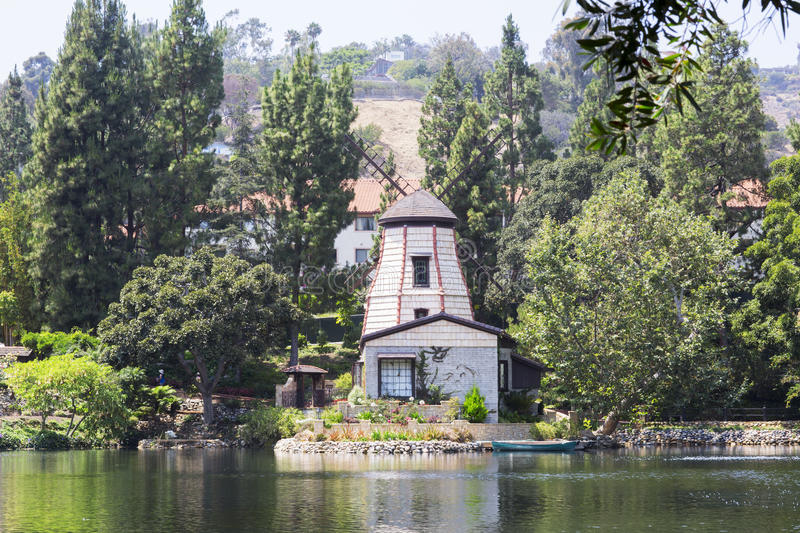 The garden of meditation in Santa Monica, United States. Park of five religions at the lake Shrine, landscape royalty free stock images