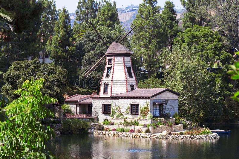 The garden of meditation in Santa Monica, United States. Park of five religions at the lake Shrine, landscape stock photos