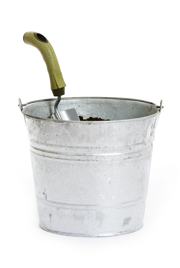 Download Garden: Metal Pail Full Of Dirt And Shovel Stock Photo   Image Of  Gardening