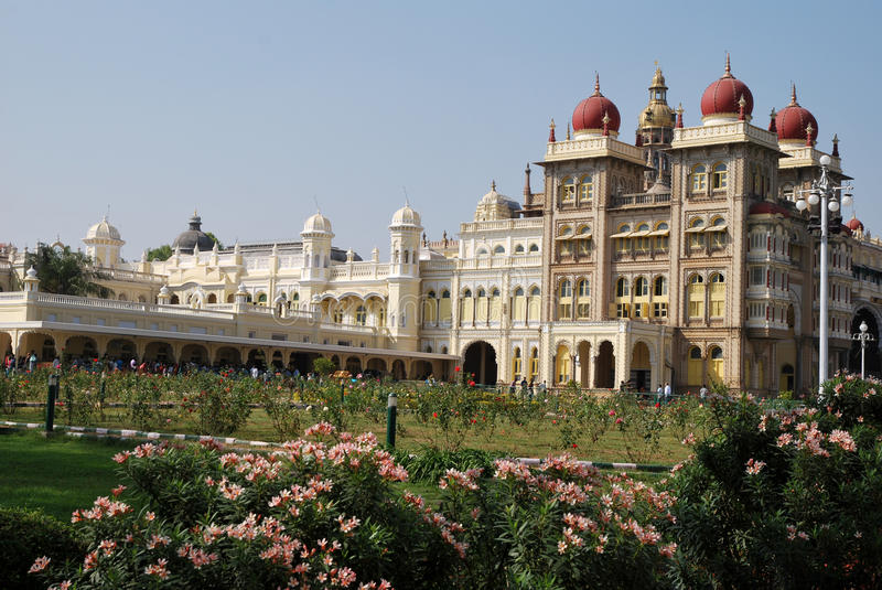The garden of Mysore palace in India royalty free stock photo