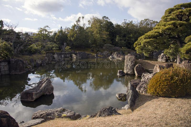 Garden at the Nijo castle in Kyoto stock images