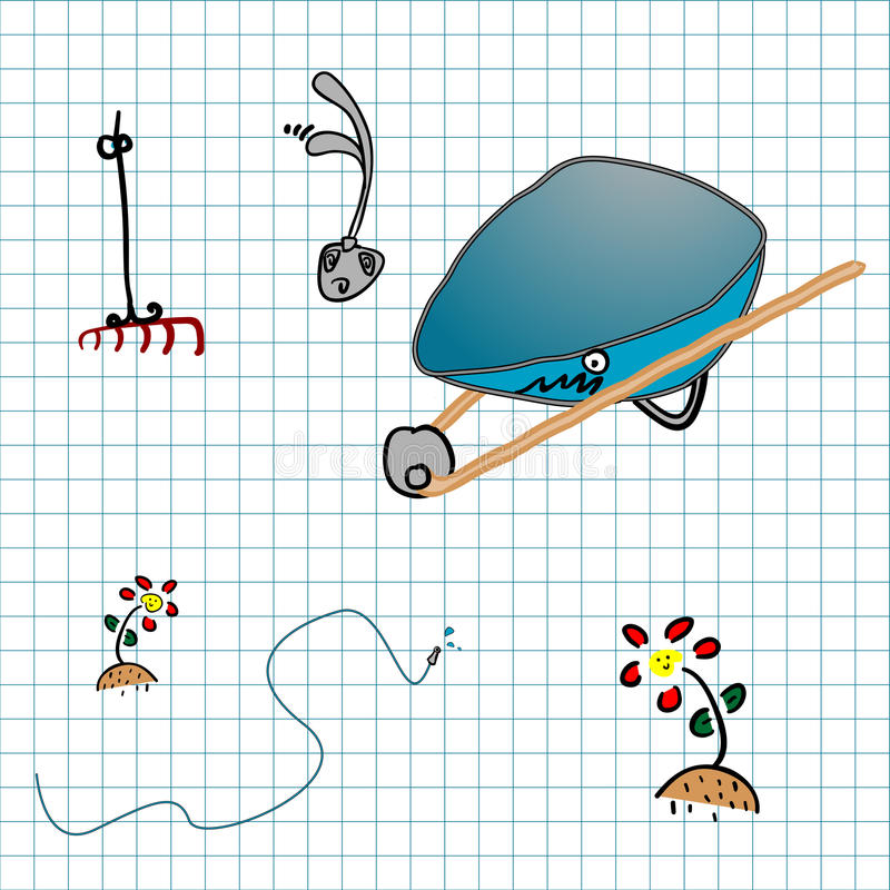 Download Garden objects doodle stock illustration. Image of objects - 23482005