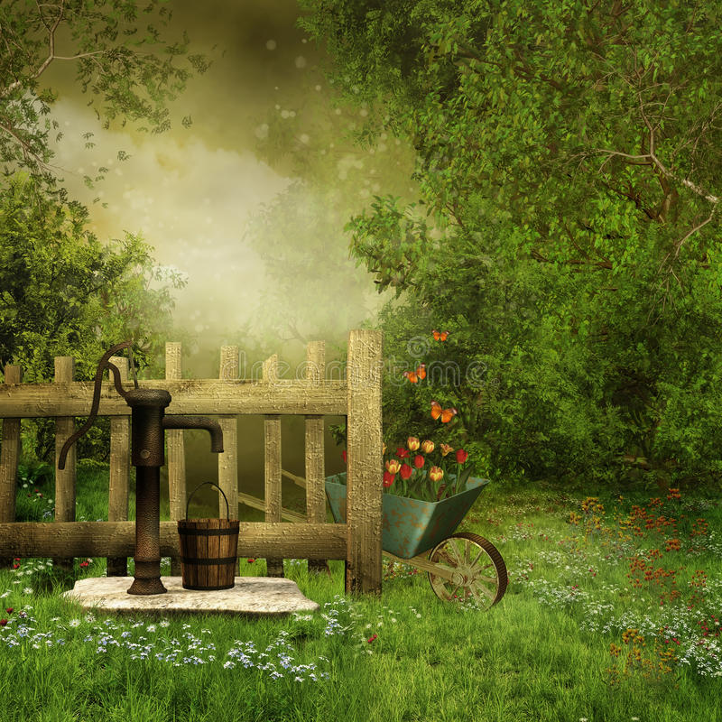 Garden with an old water pump stock illustration