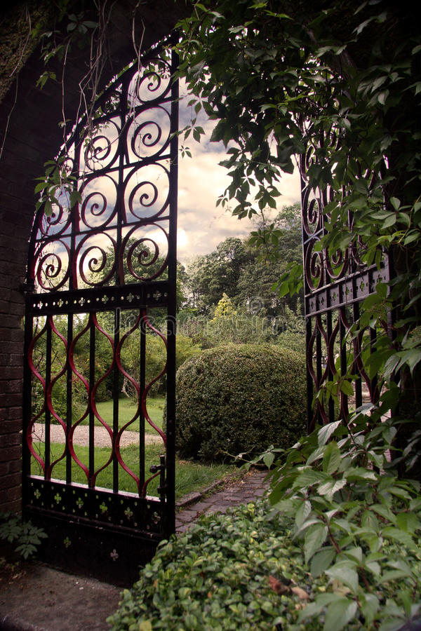Garden with an Open Gate stock photography