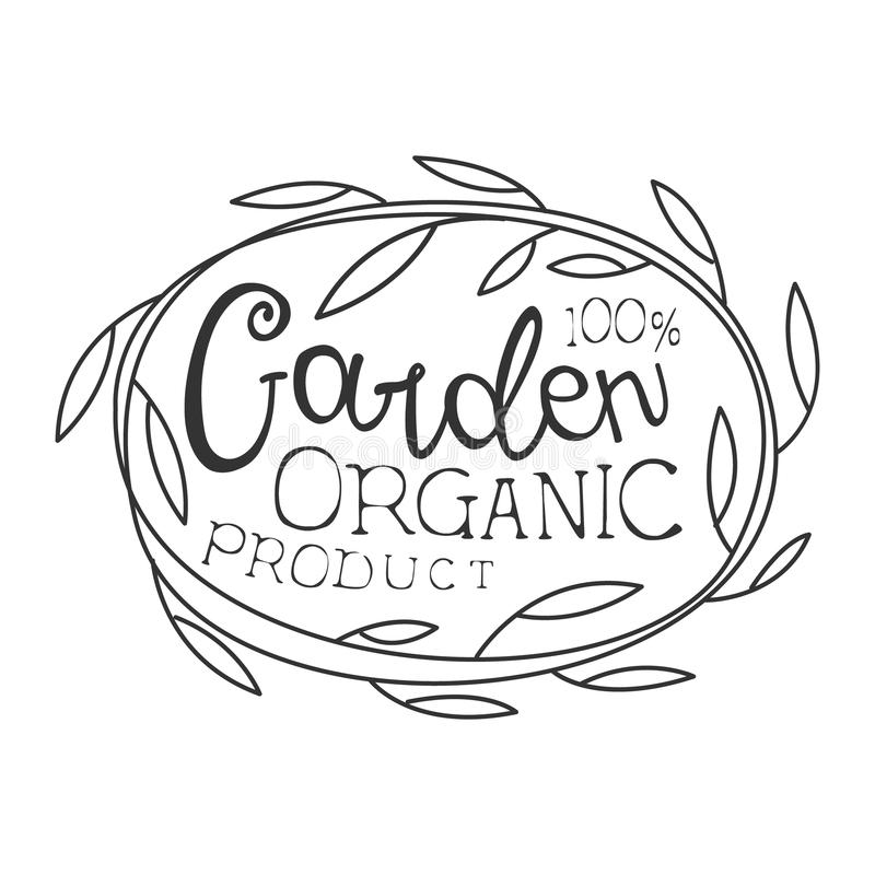 Garden Organic Product Black And White Promo Sign Design Template With Calligraphic Text And Floral Frame royalty free illustration