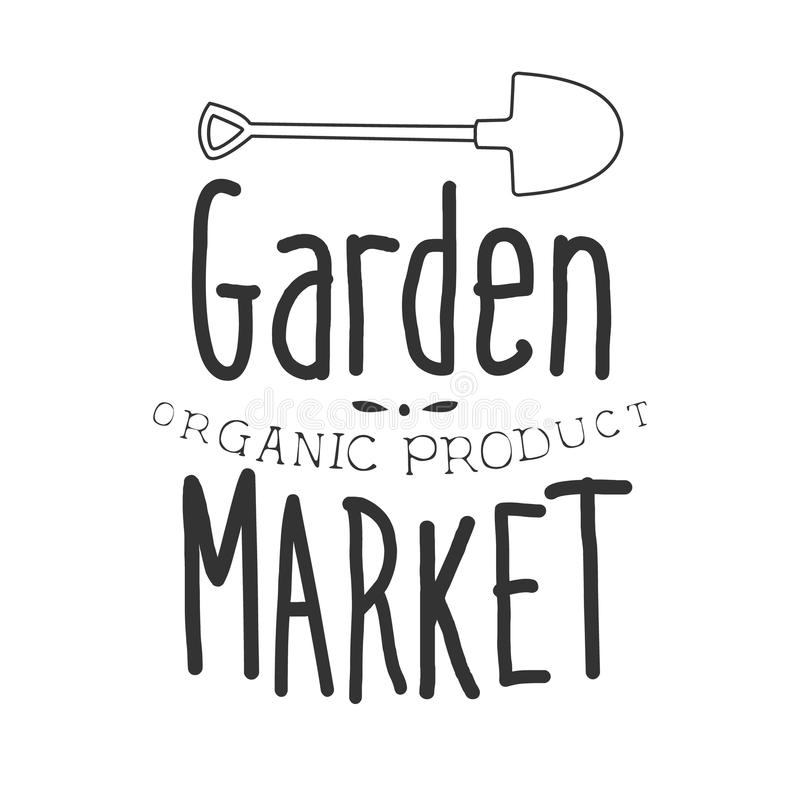 Garden Organic Product Market Black And White Promo Sign Design Template With Calligraphic Text vector illustration