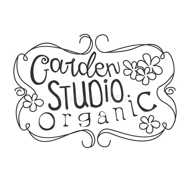 Garden Organic Studio Black And White Promo Sign Design Template With Calligraphic Text With Vintage Frame. Fresh Bio Food, Farming And Gardening Products vector illustration