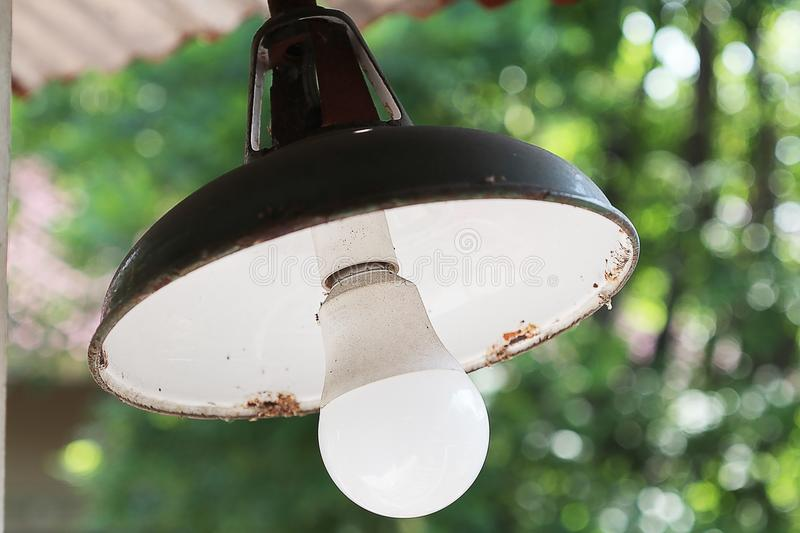 Outdoor lamp warm white with ant stock photography