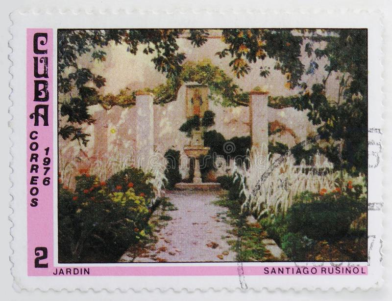 Garden, painting by Santiago Rusinol, Paintings from the National Museum serie, circa 1976. MOSCOW, RUSSIA - JULY 25, 2019: Postage stamp printed in Cuba shows stock photo