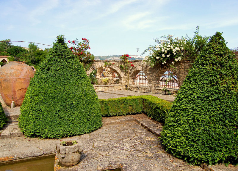 Garden in palace in Bulgaria royalty free stock photography