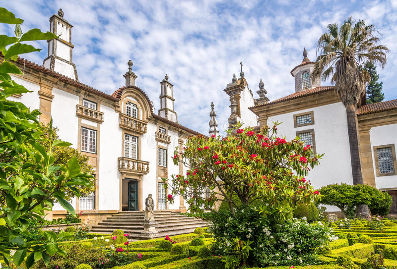 Garden and Palace of Mateus near Vila Real in Portugal. VILA REAL,PORTUGAL - MAY 15,2017 - Garden and Palace of Mateus near Vila Real in Portugal. Vila Rael is stock photo