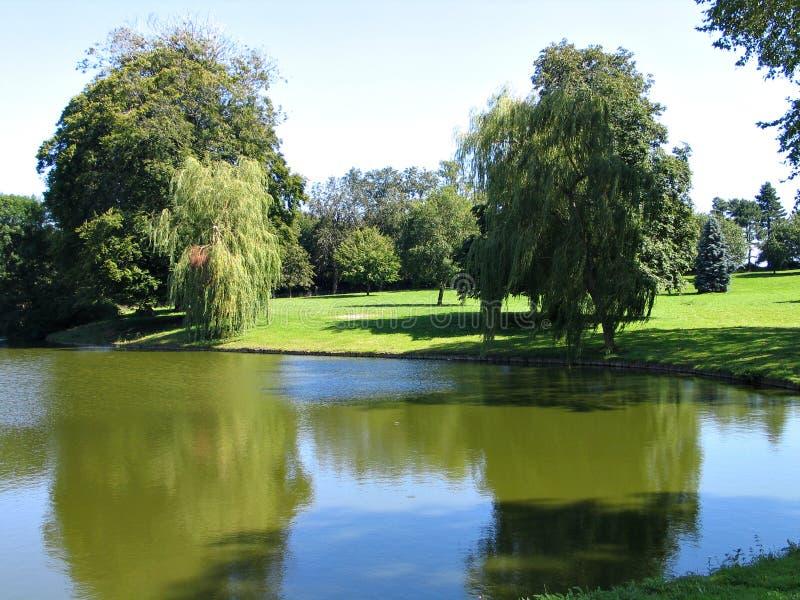 Garden park with a lake. Green landscape - Public garden park with lake. green lawns and trees stock image