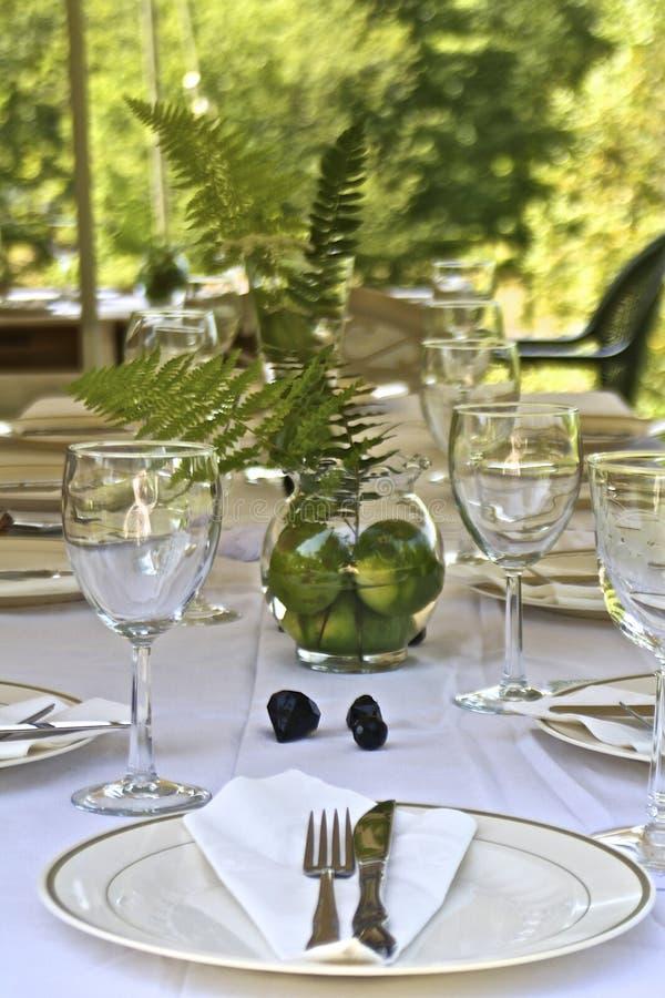 Garden Party. Elegant table set for a garden party stock photos