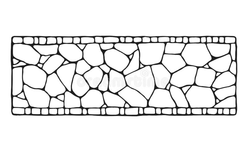 Garden path. Decorative stonework. Vector sketch. isolated object.  vector illustration