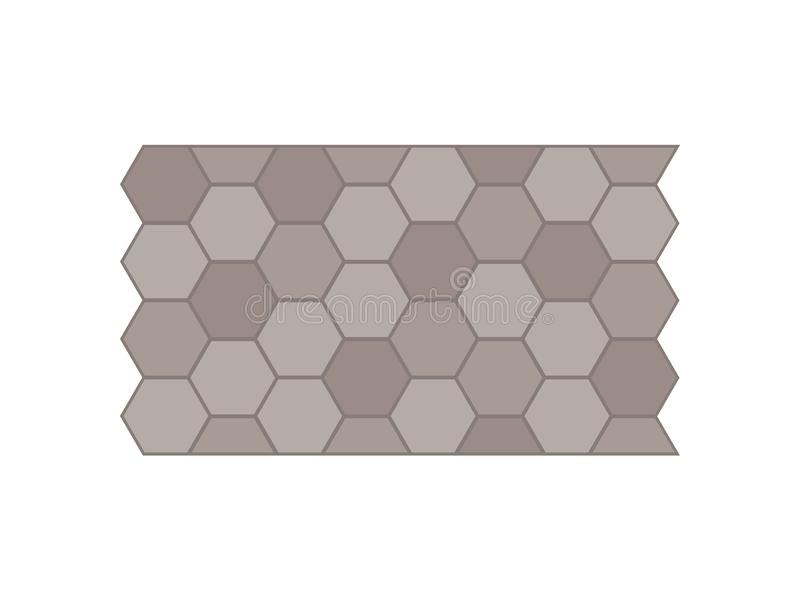 Garden path of tiles. View from above. Vector illustration. Garden path of hexagonal tiles. View from above. Vector illustration on white background royalty free illustration