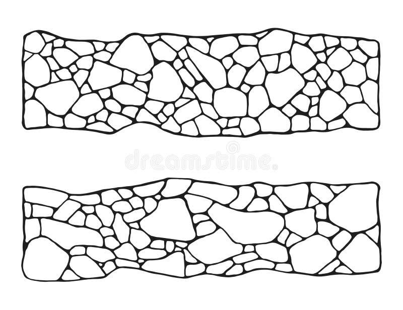 Garden path of tiles set. masonry stone. in isolation vector.  royalty free illustration