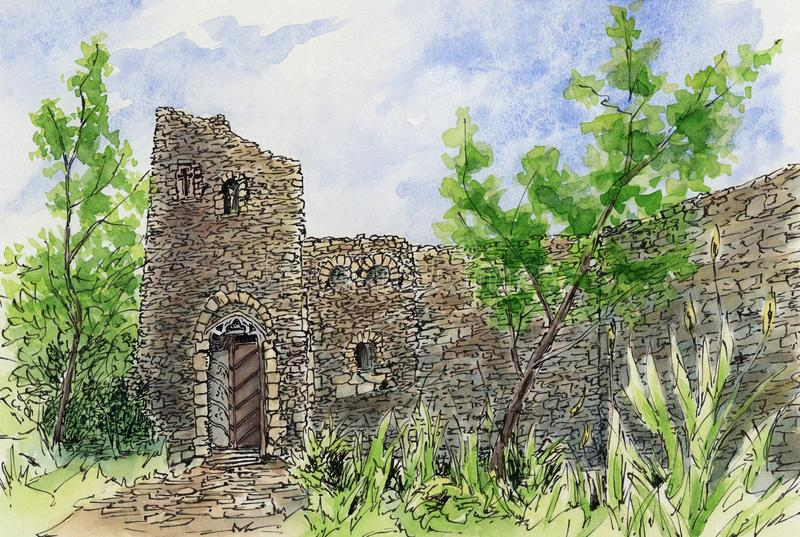 Garden with picturesque ruin. Loose sketch. Ink and watercolor on cardboard vector illustration