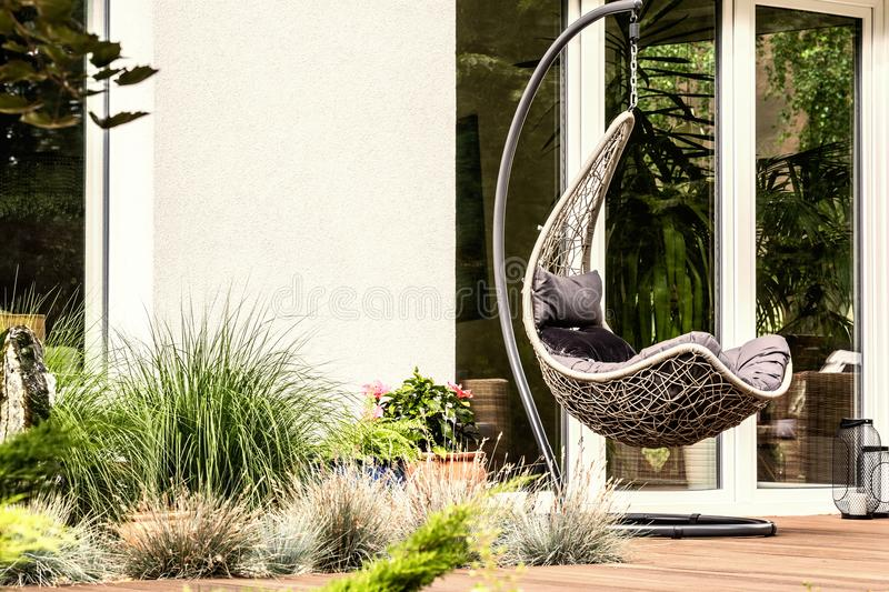 Garden plants next to hanging chair on terrace of house during s. Ummer. Real photo royalty free stock photo