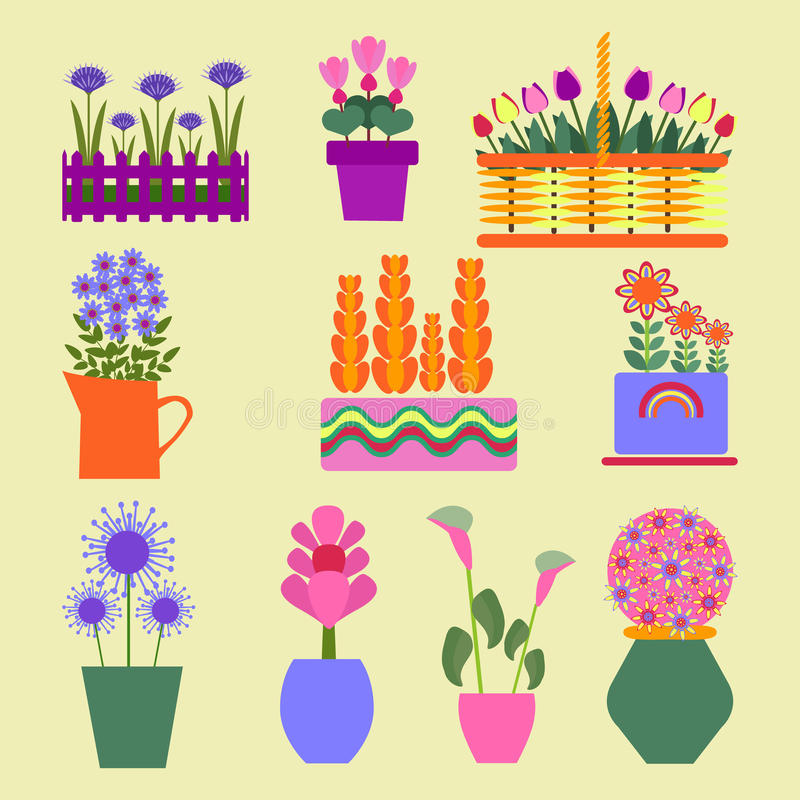Garden plants set icons for design stock illustration