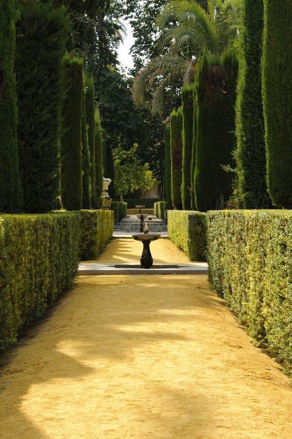 Garden of the poets in the Royal Alcazar stock image
