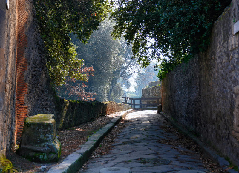 Garden in Pompeii. Road in the Pompeii garden. Italy stock photo
