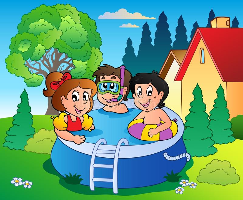 Garden with pool and cartoon kids stock illustration