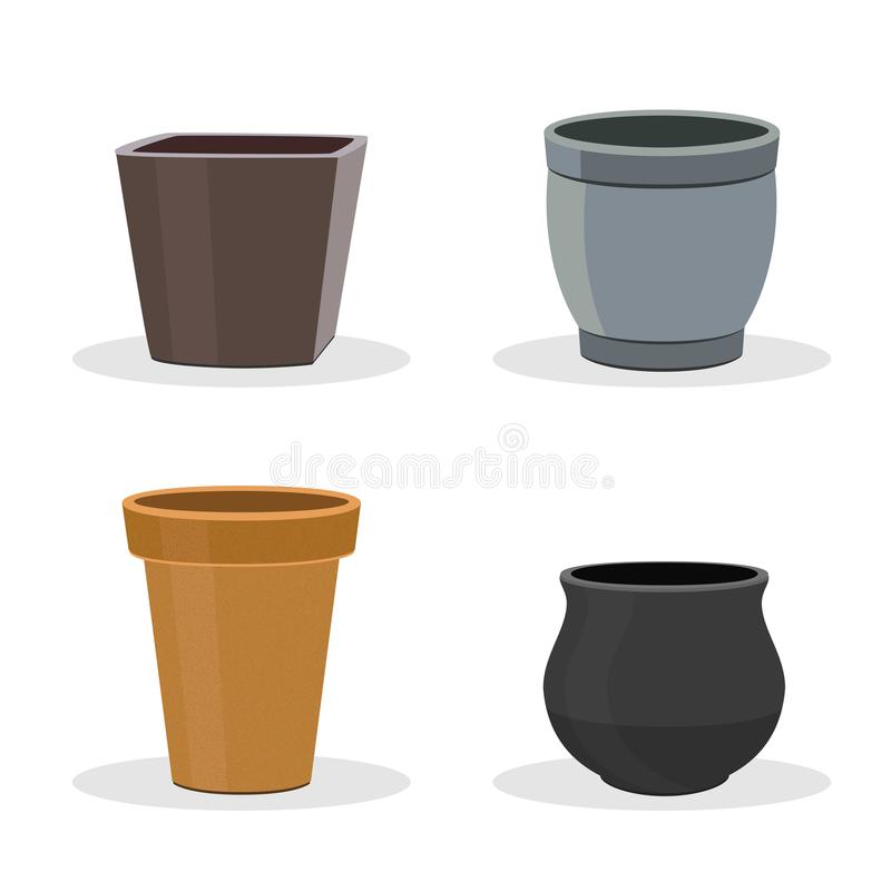 Free Garden Pots And Containers Isolated On White. Stock Photo - 114165630