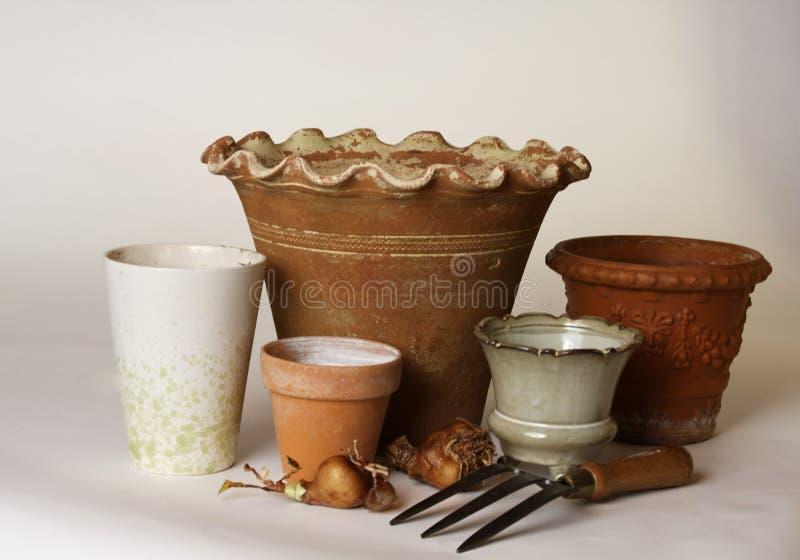 Garden Pots Waiting for Bulbs stock photography