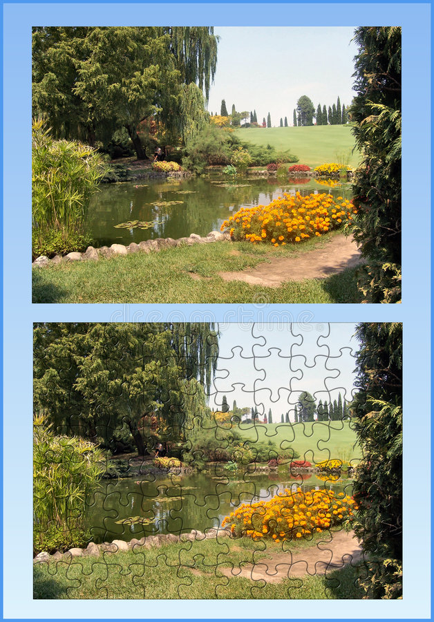 Garden puzzle. Puzzle of italian garden with original image stock image