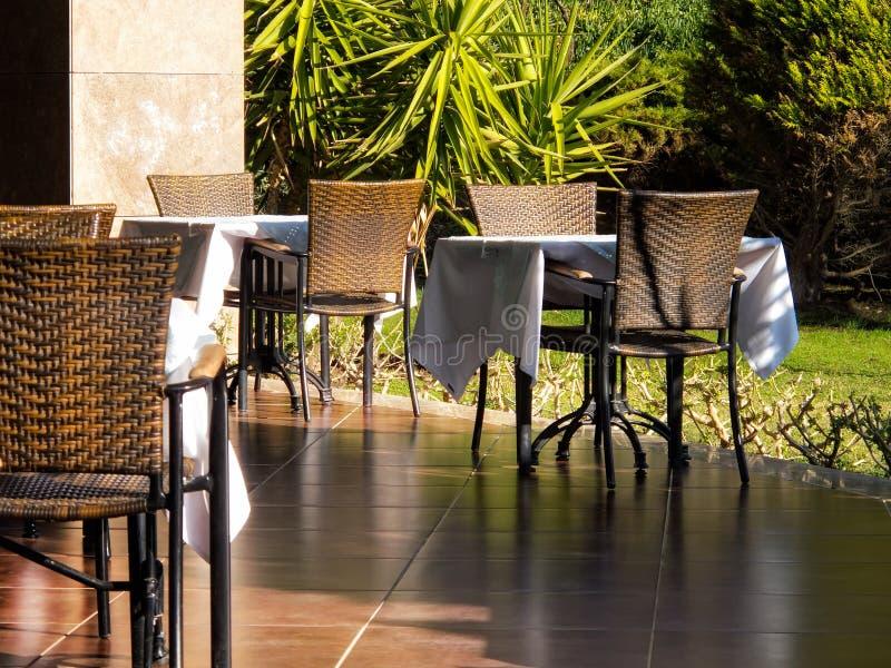 garden restaurant tables stock images