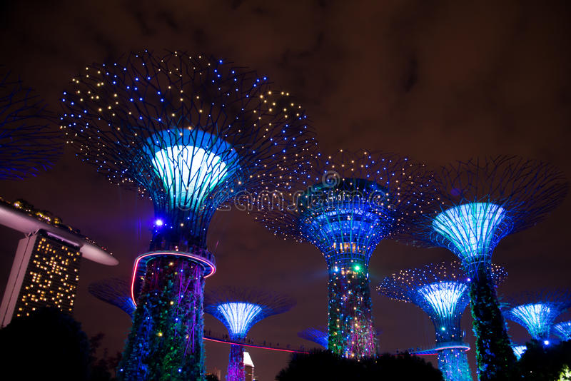 download garden rhapsody lightshow gardens by the bay singapore editorial image image - Garden By The Bay Fireworks