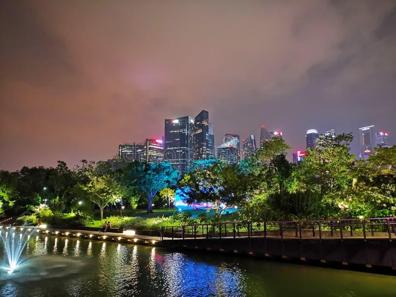 Garden River Singapore City Skyline Night View royalty free stock photos
