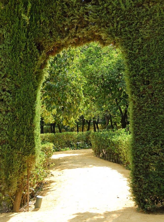 Garden of the Royal Alcazar in Seville, Spain royalty free stock photography