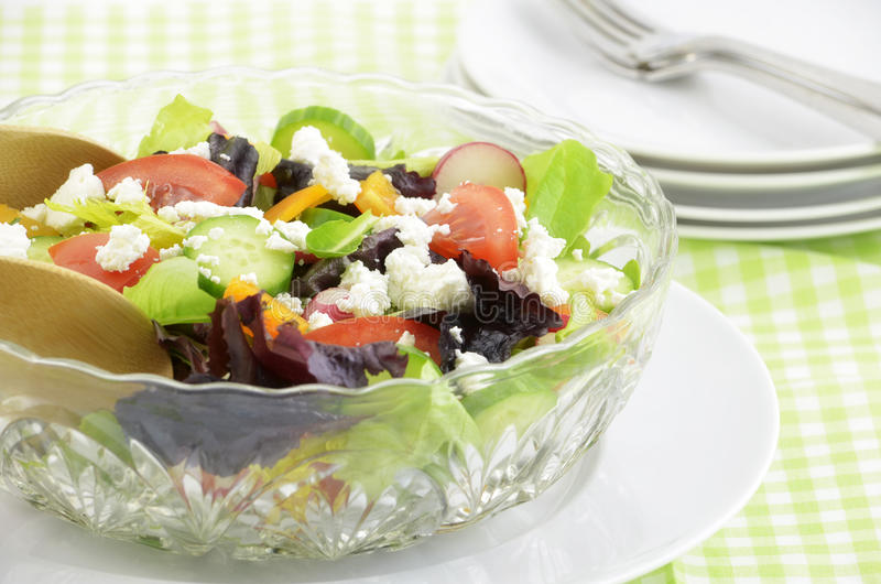 Garden Salad With Goat Cheese Stock Photos