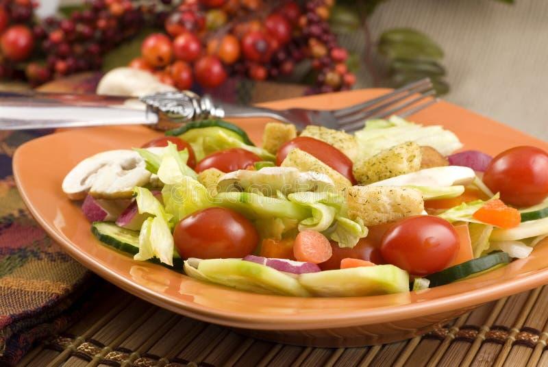 Garden Salad With Mushrooms Stock Photo