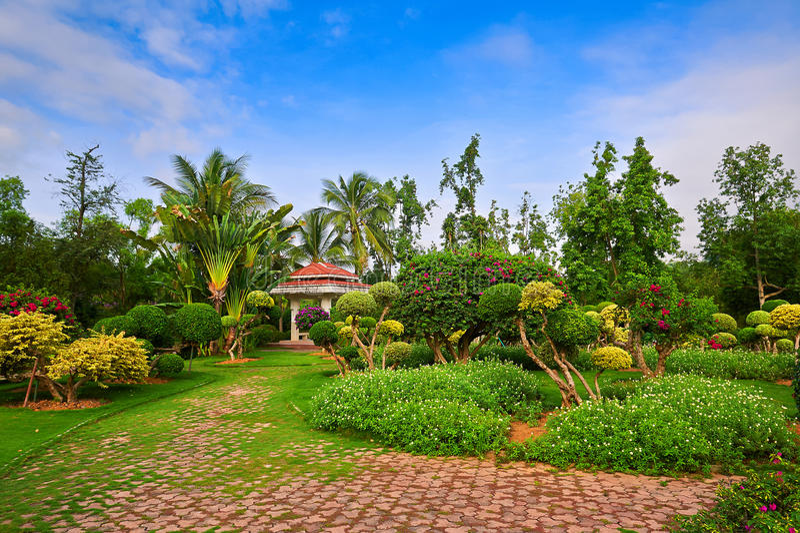Garden_sceneryen arkivfoto