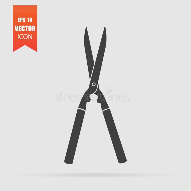 Garden scissors icon in flat style isolated on grey background vector illustration