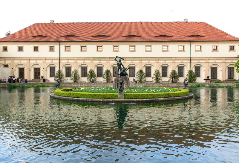 Garden of the Senate of the Parliament in Prague. Czech republic. April 2014 stock photography