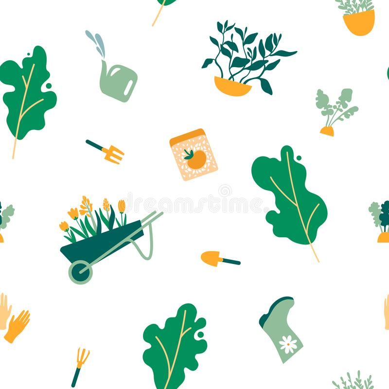 Seamless pattern of gardening items. Trees plants fruits herbs tools gloves boots rakes shovels seeds flowers cart. royalty free illustration