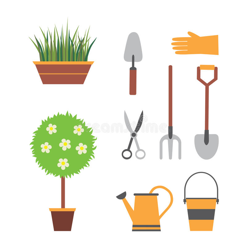Garden set with tools royalty free illustration