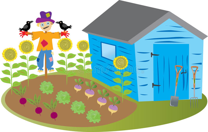 Garden shed with scarecrow stock vector image of crows for Garden shed 3x5