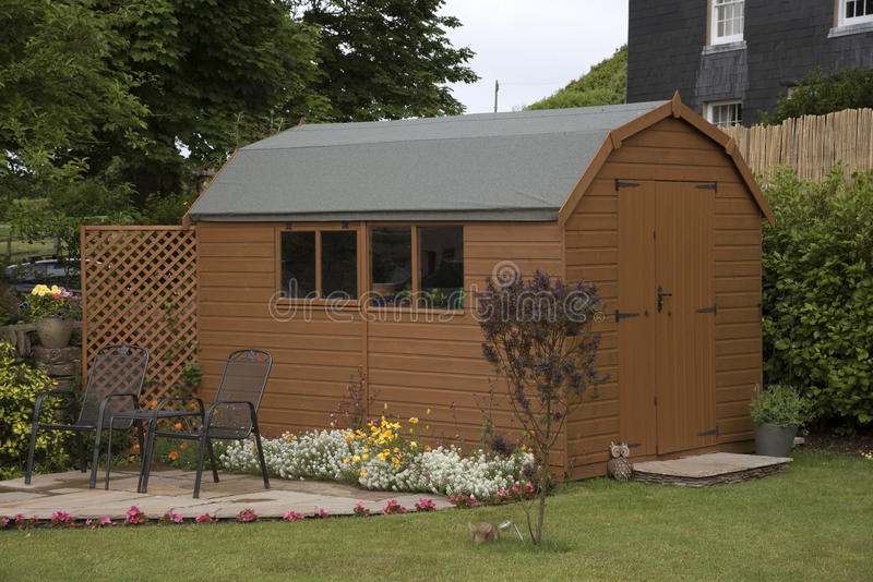 Download A Garden Shed And Small Patio Stock Image   Image Of Sheds, Brown: