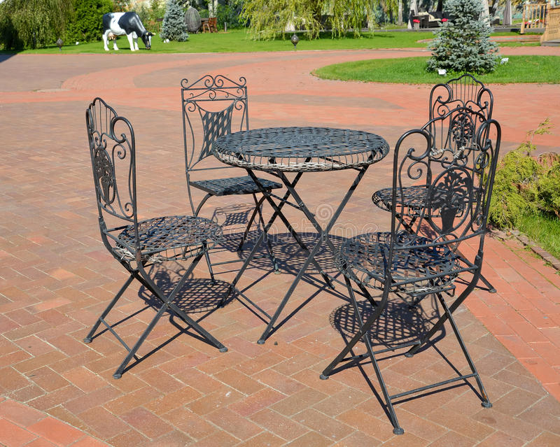 Garden shod furniture in the territory of the center of rest.  stock image
