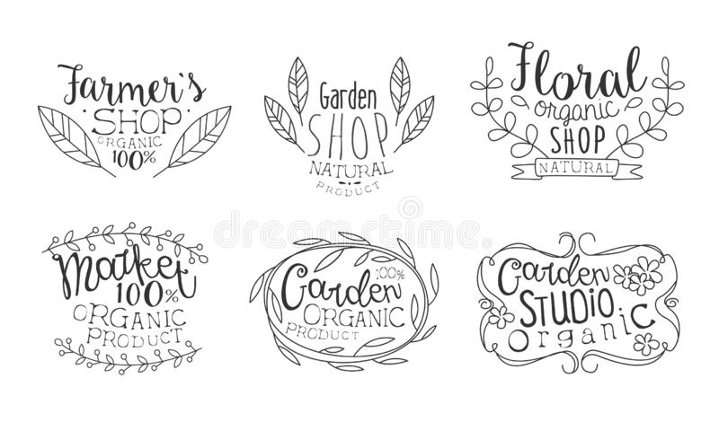 Garden Shop Hand Drawn Badges Set, Floral Organic Shop, Garden Organic Studio, Farmers Market Monochrome Vector stock illustration